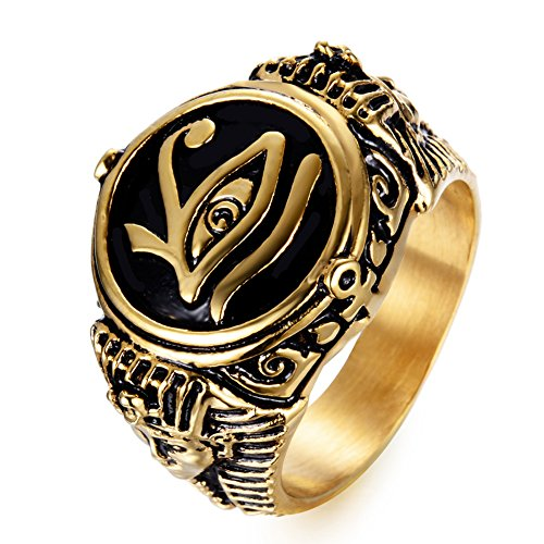 JAJAFOOK Mens Stainless Steel Ring Egyptian Pharaohs Eye of Horus Udjat Gold Plated Tone Jewelry
