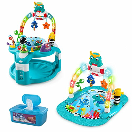 Baby Einstein 2-in-1 Lights & Sea Activity Gym and Saucer with Hypoallergenic Baby Wipes (Games Pogo Kindle For)