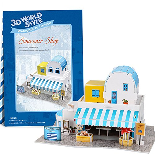 Lelifang 3D stereoscopic new listing world style hut building assembly model children 's toys W3167 Greece - souvenir shop (Stereoscopic 3d)