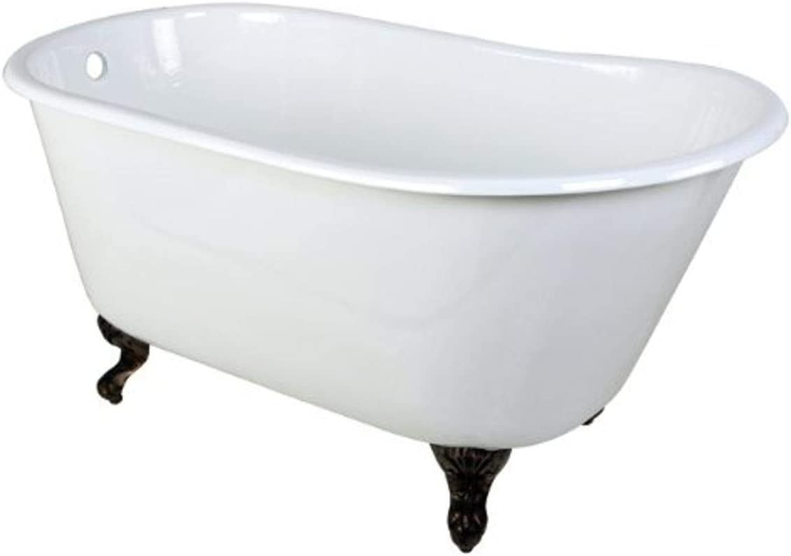 Kingston Brass Aqua Eden VCTND5328NT5 Cast Iron Slipper Clawfoot Bathtub with Oil Rubbed Bronze Feet without Faucet Drillings, 53-Inch, White