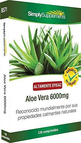 Aloe Vera 6000 mg | Efectos calmantes para mejorar la digestión | 120 comprimidos
