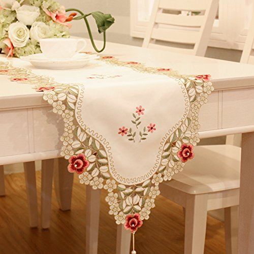 Red Flower Embroidered Floral Yellow Small Chinese Table Runner Tapestry