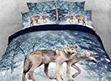 Luckey1 Snow Wolf Print 3D Bedding Sets, Cotton Duvet/ Comforter Cover Bedding Sets Twin/Full/Queen/King 4-Piece, 1 Duvet Cover, 1 Flat Sheet, 2 Pillowcases (Queen, Snow Wolf)