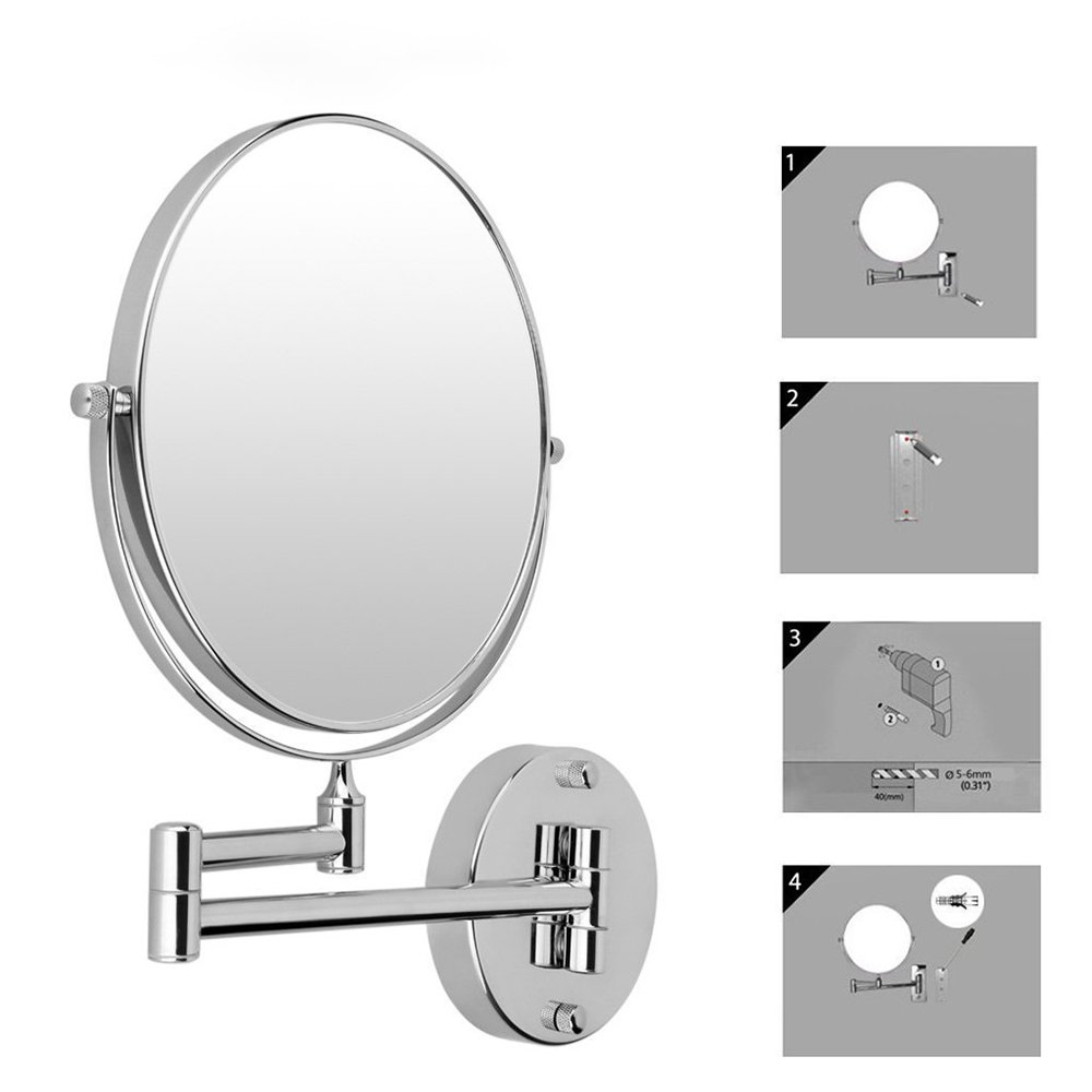 Cosprof Bathroom Mirror 10X/1X Magnification Double-sided 8 Inch Wall Mounted Vanity Magnifying Mirror Swivel, Extendable and Chrome Finished by Cosprof (Image #6)