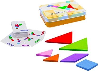 STOBOK 1 Conjunto de Madeira Tangram Quebra-Cabeça Brinquedo Blocos Quebra-Cabeça Tangram Montessori Brinquedos Formas de Bloco Quebra-Cabeças Jogo Educacional Presente