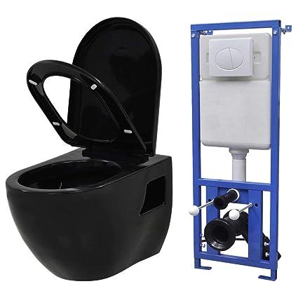 Festnight Toilette Murale WC Toilette Suspendue au Mur avec Réservoir Caché  Céramique Noir