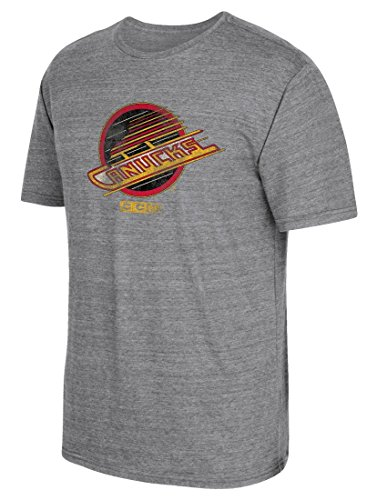 (adidas NHL Vancouver Canucks CCM Heritage 2 Tri-Blend Short Sleeve Tee, X-Large, Dark Grey Heathered)