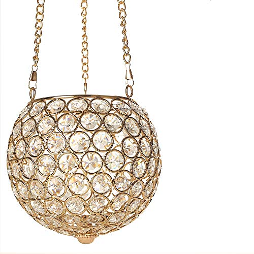 (VINCIGANT Gold Hanging Pendant Candle Lantern Holder for Dining Living Room Bar Cafe Decoration with Chain & Hook,Multi Colored LED Starry Copper Wire String Lights Included)
