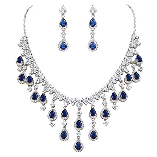 EVER FAITH Women's Cubic Zirconia Gorgeous Water Drop Dangle Necklace Earrings Set Blue Silver-Tone