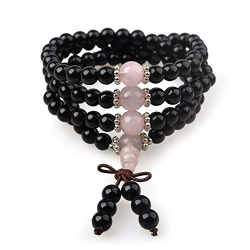 Mala Beads for Women as Beaded Bracelet Made of Black Obsidian and Pink Quartz Stone, The Healing Chakra Stones in Meditation and Yoga, or As Fashion Jewelry (108 Beads, 4-Wrap)