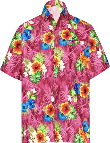 (LA LEELA Men's Relaxed Tropical Hawaiian Shirt Casual Short Sleeve S Pink_W578)