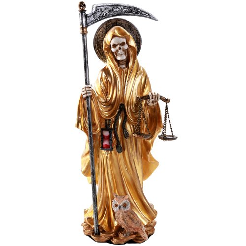 Pacific Giftware Santa Muerte Saint of Holy Death Standing Religious Statue 10 Inch Power Prosperity Success(Gold) (Santa Statue)