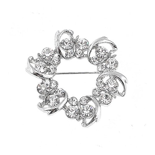 Glamorousky Dazzling Butterfly Garland Brooch with Silver Austrian Element Crystal (3273)