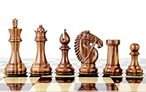 """House of Chess - Golden Rosewood/Boxwood Chess Pieces Rio Staunton 4.0"""" (102 mm) 2 Extra Queens - Triple Weighted"""