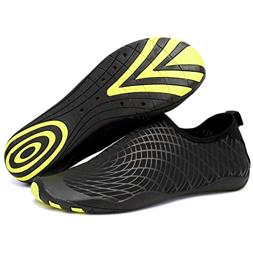 CIOR Men Women's Barefoot Quick-Dry Water Sports Aqua Shoes with 14 Drainage Holes for Swim, Walking, Yoga, Lake, Beach, Garden, Park, Driving,SYY04,w.black,44