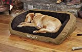 Orvis Field Collection Memory Foam Bolster Dog Bed/Medium Dogs 40-60 lbs, Field Khaki,