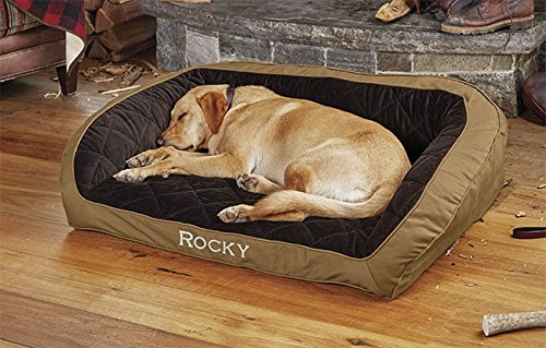 Orvis Field Collection Memory Foam Bolster Dog Bed/X-Large Dogs Up to 90-120 Lbs, Multiple Dogs, Field Khaki, X Large
