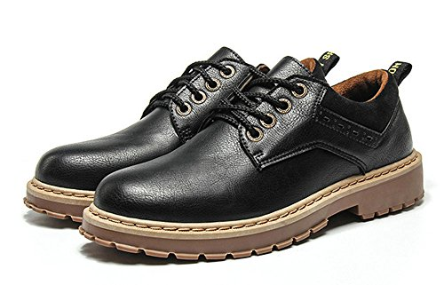 MHB Men's Winter Fashion Work Leather Shoes Round Toe Leisure Outdoor British Style 8in - British Triathalon