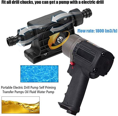 Juntful Perceuse /Électrique Lecteur Pompe Huile Eau Mini Auto-Amor/çante Transfert Pompe Portable Corrosion R/ésistant