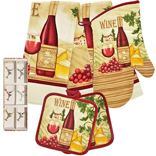 (Greenbrier Kitchen Linen Set (Includes: one oven mitt, two pot holders and two dish towels) (Tuscan Red)