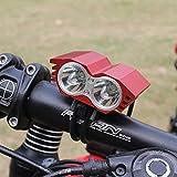 Etrade2global 5000 Lumen Cree XM-L 2x U2 LED Cycling Front Bicycle Bike Light Headlights Headlamp Head Light Lamp 4x18650 Battery Pack 6400mah Red