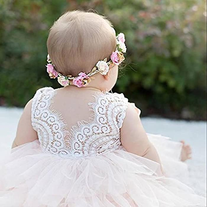 66d0655e7c3 ... Topmaker Backless A-line Lace Back Flower Girl Dress ...