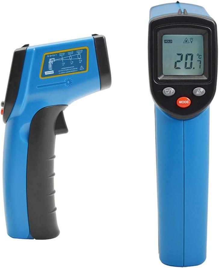 Pistola de pirómetro Emisividad ajustable 0,1 a 1,0, Máx/Mín/Avg/Dif -32 ° C-380 ° C para Termómetro de infrarrojos con láser profesional