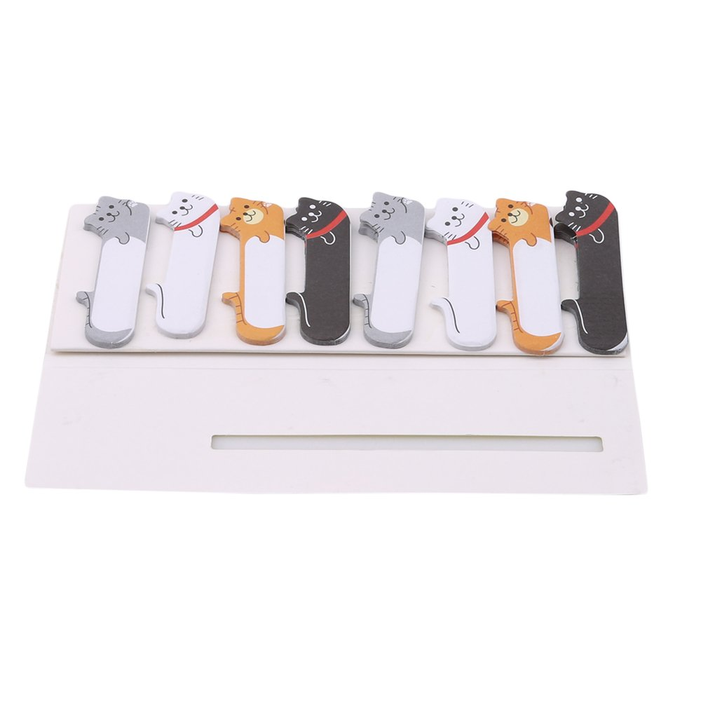 MOONQING Cartoon Animal Bookmarks Memo Strips Cute Bear Bunny Cat Sitting Bookmarks Marker Book Holder,Doodle cat