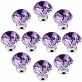 FirstDecor 10PCS Purple Acrylic Glass Diamond Cut Crystal Decorative Drawer Pull Handle for Furniture Cabinet Closet Dresser Cupboard Wardrobe Kitchen & Baby Kid's Children's Furniture Decor