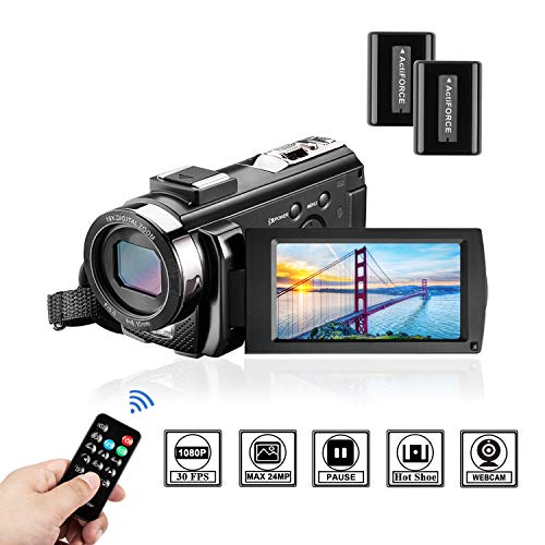 Video Camera Camcorder Digital Camera YouTube Vloggaing Camera Video Recorder Full HD 1080P 30FPS 24MP 3.0 Inch 270 Degree Rotation Screen16X Digital Zoom Camcorder with Remote Control (2 Batteries) ()