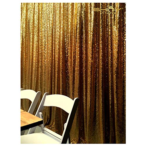 Gold Shimmer Sequin Fabric Photography Backdrop 4FTX6FT Glitter Background Sequence Curtain]()