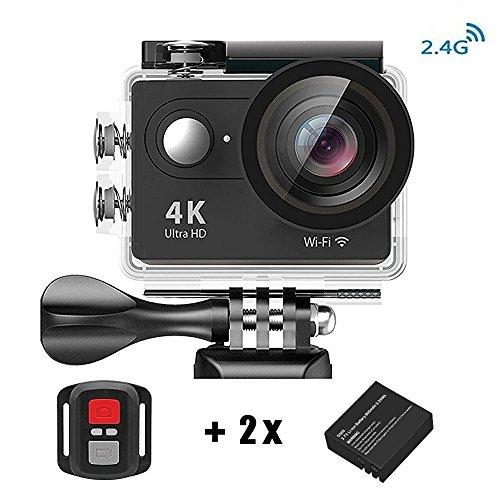 Action Kamera 4K HD Wifi Sport Kamera mit 2.4G Fernbedienung Wasserdicht Zubeh?r-Kit 2.0 LCD Wifi Sport Kamera 30M 1080P 60fps 170° mit Transporttasche 2 Batterien