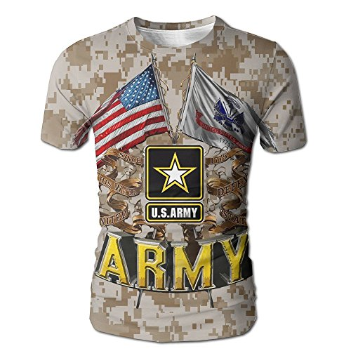 BOBOSTYLE Army Double Flag US Army Patriotic Decals Mens T-Shirt Tee. - Flag Patriotic Decal