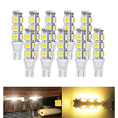 T10 921 194 Wedge RV Trailer LED Super Bright Warm White Bulbs 13-5050 SMD LED DC 12V (Pack of 10): Home Improvement [5Bkhe1403656]