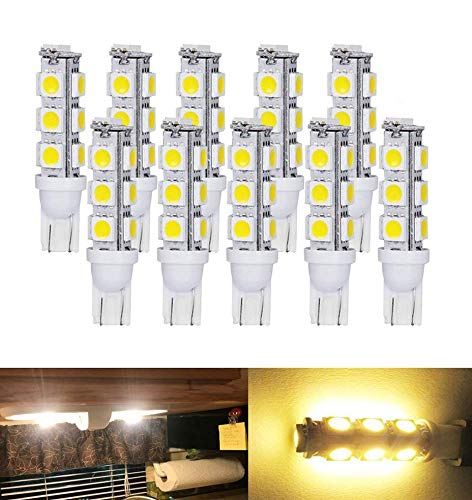T10 921 194 Wedge RV Trailer LED Super Bright Warm White Bulbs 13-5050 SMD LED DC 12V (Pack of - Led Bulb Warm Bright White