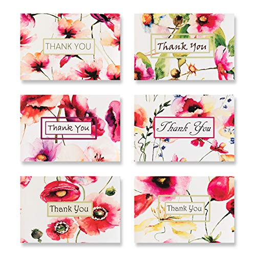 Thank You Cards for All Occasions - 6 Beautiful Fresh Floral Designs - Thank You Notes Blank Inside with Envelopes - 6 x 4 inches - for Your Wedding, Baby Shower, Bridal, Business, Anniversary,