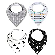 Baby Bandana Drool Bibs with Snaps For Boys & Girls Drooling and Teething, Unisex Set of 4 Absorbent Cotton Baby Gift Dribble Bibs By CAMIRUS (Black/White/Gray)