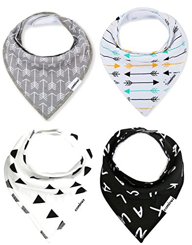 Baby Bandana Bibs - Unisex 4 Pack Extra Absorbent Cotton Drool Bibs with Snaps for Boys & Girls Drooling and Teething, Perfect Baby Burp Cloth Gift Set By CAMIRUS (Black/White/Gray)