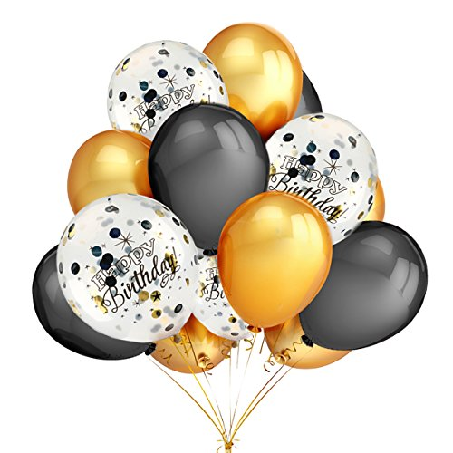 100th Birthday Balloons (Birthday Party Decorations Balloons - Happy Birthday Confetti Balloons (Gold and Black Confetti Pre-Filled),Gold and Black Latex Party Balloons - 40)