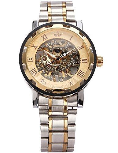 AGENT X Men's Wrist Watch Mechanical Hand Wind Stainless Steel Luxury Skeleton