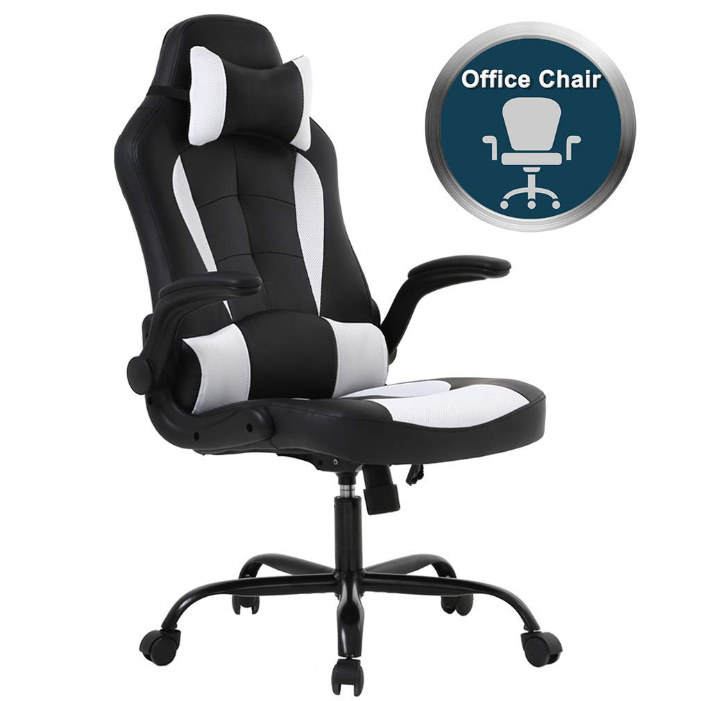 Gaming Office Chair, High-Back PU Leather Racing Chair, Reclining Computer Executive Desk Chairs with Lumbar Support Adjustable Arms Rolling Swivel Chair for Women, Men White Renewed