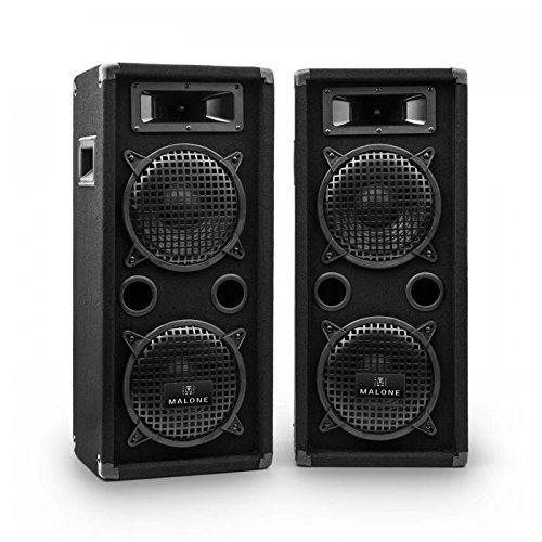 Malone PW-08X22 - Par de Altavoces PA , Altavoces 3 vías , Altavoces pasivos Rango Completo , máx 2X 800 W , 2X Subwoofer 20 cm , 2 x Medios , 2 x Twitter , 70 Hz-18kHz , Caja de bajo , Asa , Negro