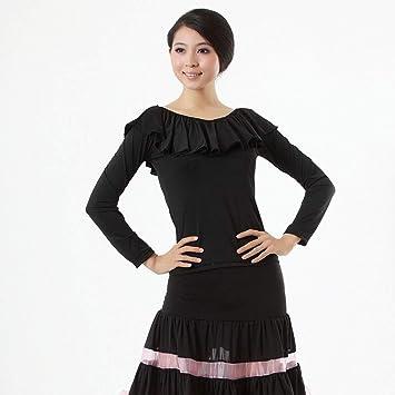 YROYKRRE Baile Latino encabeza Mangas largas niñas Salsa Samba Tango Rumba Chacha Ronda de Hoja de Loto Cuello de Camisa de Manga Larga Danza Moderna Camisa del Partido: Amazon.es: Deportes y aire