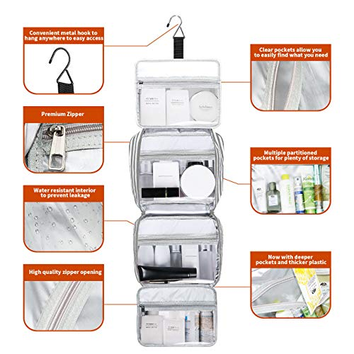 Hanging Travel Toiletry Bag,Large Capacity Cosmetic Travel Toiletry Organizer for Women with 4 Compartments & 1 Sturdy Hook,Perfect for Travel/Daily Use/Valentine Gifts for Her/Women
