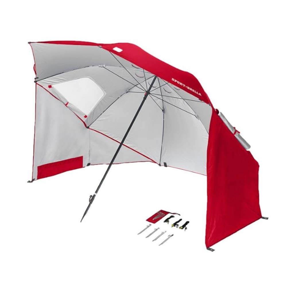Outdoor Sports Cover XL Size Umbrella Sun Protection UPF 50+ UVA UVB Rays Side Panels Extra Coverage Wind Flaps Airflow 8ft Canopy Shelter Beach Sun Rain School Park Camp Soccer Game Shade Cool