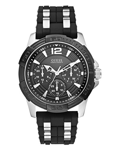 GUESS-Mens-U0366G1-Black-Sporty-Silver-Silicone-Silver-Tone-Watch-with-Day-Date-24-Hour-Intl-Time