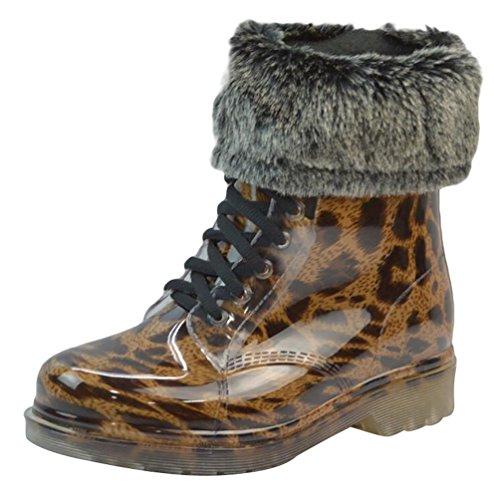 LvRao Women's Waterproof Lace-Up Shoes Short Snow Snow Rain Booties Casual Garden Boots Leopard with Fur xsQZYzls7