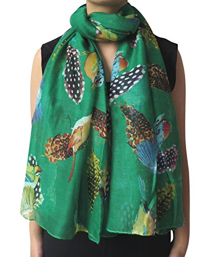 Lina & Lily Bird and Feather Print Oversized Scarf Lightweight (Feather Print Scarf)