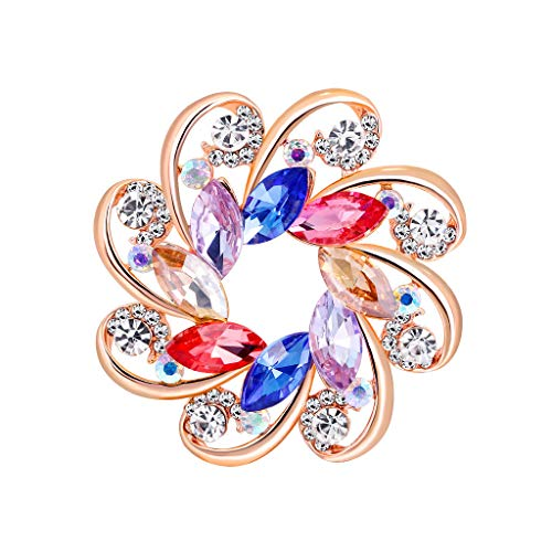 (Ximandi Diamond and Gold Silk Scarf Buckle Pin Dual-use Environmentally Friendly Alloy Floral Brooch)