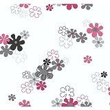 York Wallcoverings YK0152SMP York Kids IV Flower Power 8-Inch x 10-Inch Memo Sample Wallpaper, Pink/Silver